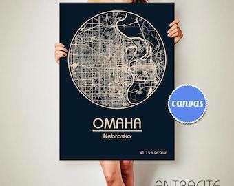 OMAHA Nebraska City Map Omaha Nebraska Art Print Omaha Nebraska poster Omaha Nebraska map art United States of America Poster