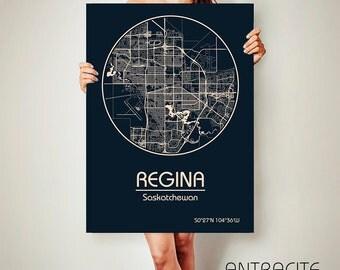 REGINA Saskatchewan Canada CANVAS Map Regina Saskatchewan Canada Poster City Map Regina Saskatchewan Canada Art Print Regina Saskatchewan