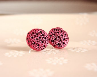 Pink studs Pink stud earrings Black pink earrings Handmade earrings Round studs Textured studs Round earrings Gifts under 20 Unique studs