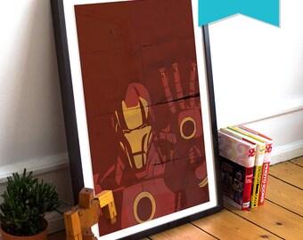 Iron Man Avengers Poster Illustration Marvel Comics Tony Stark Giclee Large Poster Print on Satin or Cotton Canvas Superhero