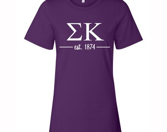 Sigma Kappa T-shirt, Sigma Kappa Tee, Sig Kap T- Shirt, Sigma Kappa Greek Letter short Sleeve Tee, greek apparel, Sig Kap Apparel
