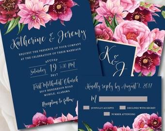 Navy Wedding Invitation, Navy and Pink Wedding, Printable Wedding Invitation, Floral Wedding, Navy and Pink, Navy and Blush