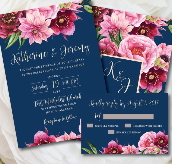 Navy Wedding Invitation Navy And Pink Wedding Printable