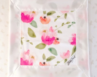 Peonies Floral Lovie / Lovey, Personalized Baby Lovie, Floral Small Baby Blanket, Satin Lovey Blanket, Lovie Blanket, Minky Security Blanket