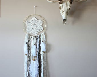 Cream Gold Dreamcatcher-Dream Catcher-Boho Dreamcatcher-Bohemian Decor-Boho Wall Decor-Doily Dreamcatcher-Woodland Nursery-Gypsy Decor