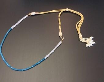 Handmade semi precious Natural Genuine Neon Apatite and Blue Flashy white Rainbow Moonstone, Beaded Tassel Adjustable Gold Necklace Cord.