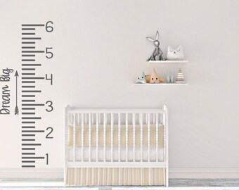 Dream Big with arrow Growth Chart - Vinyl Decal numbers and tick marks - DIY - Wall, Kids Decor - Home Decor - Wall Decor