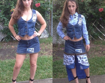 Star Wars Skirt Star Wars R2D2 Skirt Denim Skirt Denim Mini Skirt Size 5 Sale