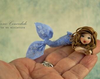 Miniature figurine: Polymer clay dolls, Doll, Custom dolls, siren, polymer clay, ooak