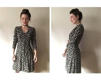 Rose Dress | 90s long sleeve dress | vintage 1990s floral dress