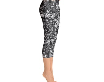 Mid Rise Black Mandala Yoga Leggings Gifts, Monochrome Leggings, Black and White Yoga Pants, Festival Leggings, Meditation Pants