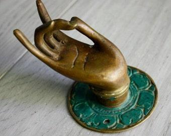 Brass Buddha Karana Mudra - Thumb to Middle Finger - Vintage Balinese