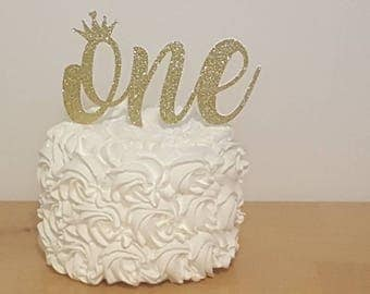 Gold Crown Cake Topper ONE 1st first Birthday princess party decoration Glitter Gold silver cupcake smash picture photo purple white pink