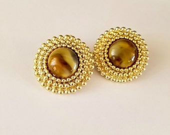 Fashion earrings, Vintage clip on button earrings, Tigers eye round gold Statement Jewelry, 80's fashions jewelry