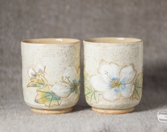 Couple of Meoto Yunomi tea cups for Japanese tea - handmade *0602