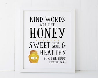 Kind Words Scripture Printable Wall Art 8x10, 5x7, 11x14, Bible Verse Printable Wall Art, Proverbs 16:24, Scripture Digital Print Art