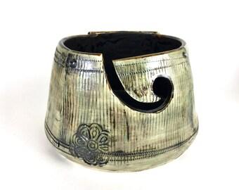 Yarn bowl pottery knitting bowl vintage flowers on sale!