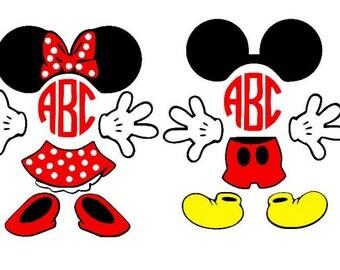 Disney svg, Mickey svg, Minnie svg, mickey monogram, minnie monogram, cutting file, clipart. instant download, digital