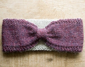 Hand Knit Headband | Lined Ear Warmer | Purple & Gray