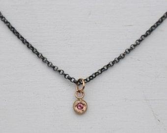 Tourmaline mixed metal charm necklace