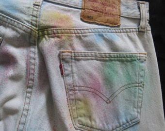 "Vintage Spray paint detail Levi Jeans 34"" high waisted"