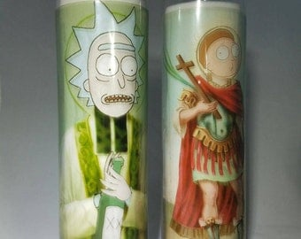 Saint Rick and Morty prayer candles collectible gift