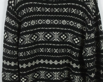 Vintage Sweater, Vintage Knit Pullover, Pattern, 80s, 90s, oversized look