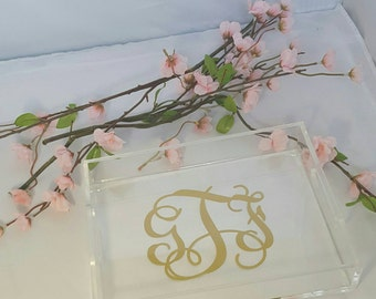 Monogrammed Acrylic Tray, Personalized Gift, Monogrammed Gift, Bridal Gift, Elegant Gift, Trinket Tray, Serving Tray, Personalized Acrylic