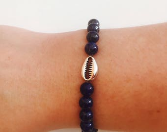 Woman shell lapis lazuli semi precious pearl bracelet / Summer bracelet gemstone beads yoga silver shell / mother's day / lesptitskdo