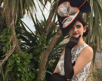 Handmade hat/headpiece black & orange