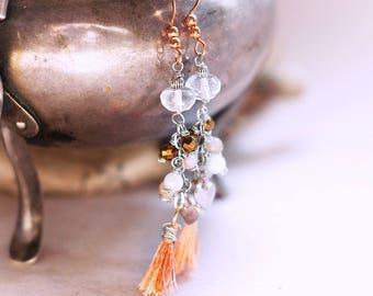 Lovely gemstone and tassel earrings, Natural crystal quartz, morganite, hematite, Copper wire wrapped earrings, handmade, gift for her