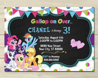 My Little Pony Birthday Invitation,Rainbow Colors, My Little Pony,5x7, Printed or Digital File ***FREE SHIPPING