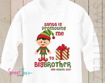 Big Brother shirt Promoting me to Big Cousin LONG SLEEVE Shirt Christmas Elf Personalized Due Date Shirt Sibling Announcement Shirt