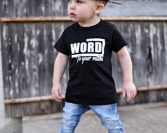 Hipster Clothing - Hipster T Shirt - Boys Graphic Tee - Trendy Kids Clothes - Monochrome Kids - Hipster Toddler - Word To Your Mutha
