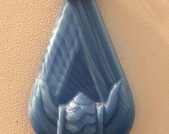 Signed Czecho Vintage Art Nouveau Molded Glass Drop Pendant, Czech Vintage Blue Crystal Pendant, 55 cm by 26 cm
