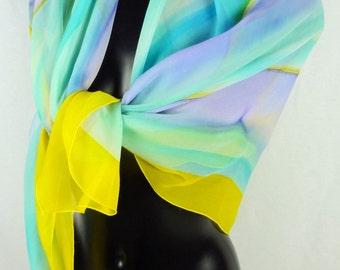 Vintage silk scarf - multicolor scarf - pastel scarf - Rainbow scarf - scarf BACCARAT - Vintage - 80s - free shipping