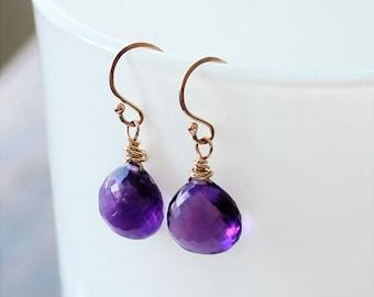 Amethyst Drop Earrings, Amethyst Dangles Earrings, February Birthstone, Amethyst Jewelry, Gift for Her