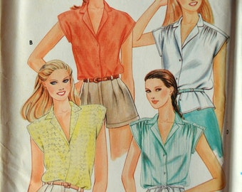 Uncut 1980s Butterick Vintage Sewing Pattern 3696, Size 16-18-20; Misses' Blouse
