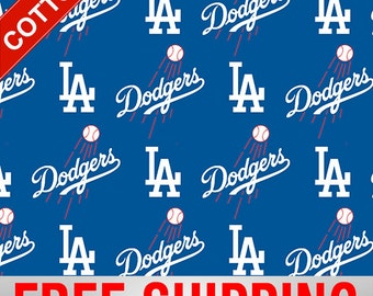 """LA Dodgers Los Angeles Cotton Fabric MLB Style# LOS-6642 60"""" Wide. Free Shipping!!"""