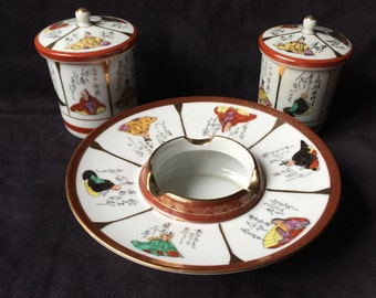 Oriental Smoking Set: Ashtray, Cigarette Jar, Match Jar