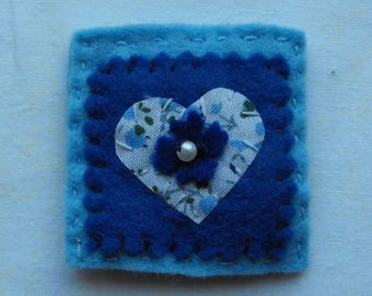 Small Blue Floral Heart Brooch