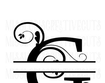 G fancy flourish split letter   SVG Cut file  Cricut explore file  decal wood signs scrapbook vinyl decal wood sign t shirt cricut cameo