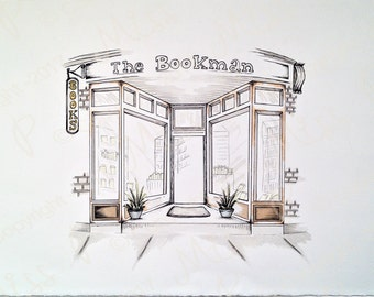 Bookman - drawing ink and watercolor