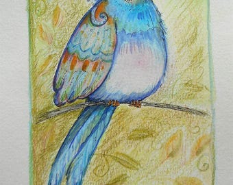 Original Watercolor Painting of Decorative Bird, Watercolour Birdie, Woodland Art, Colorful Whimsical Bird, Stylized Colorful Bird in Tree