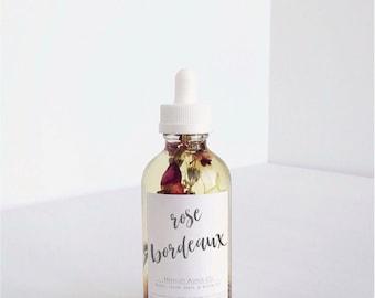 Rose Bordeaux Multi-Use Oil, Body oil, Jojoba oil, sweet almond oil, bath oil, hair oil, nail oil, safflower oil, calendula, lavender, rose