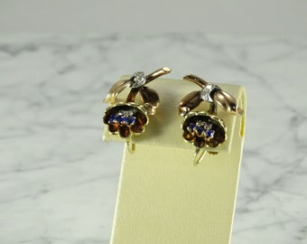 1940's Rose Gold Sapphires and Diamonds (screw back)