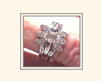 vintage vargas bridal set sterling silver wedding set engagement ring ring guard - Antique Wedding Ring Sets