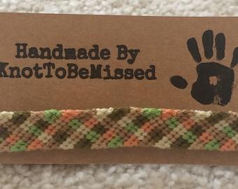 Handmade Checkerboard Friendship Bracelet Peach and Green Colour