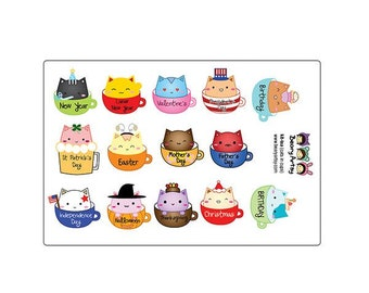 kit-tea, cute cats in cups stickers, USA holidays - planner accessories - handmade - printed and cut - erin condren, filofax, recollections