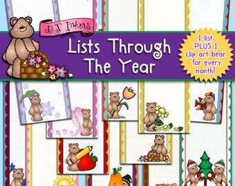Lists Through The Year Clip Art & Printables